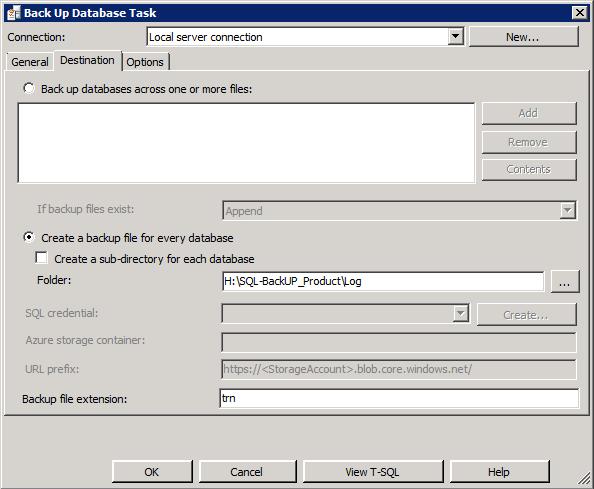 """Вкладка """"Параметры носителя"""" задачи резервного копирования базы данных"""