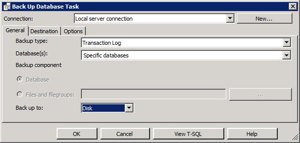 """Вкладка """"Общее"""" задачи резервного копирования базы данных"""