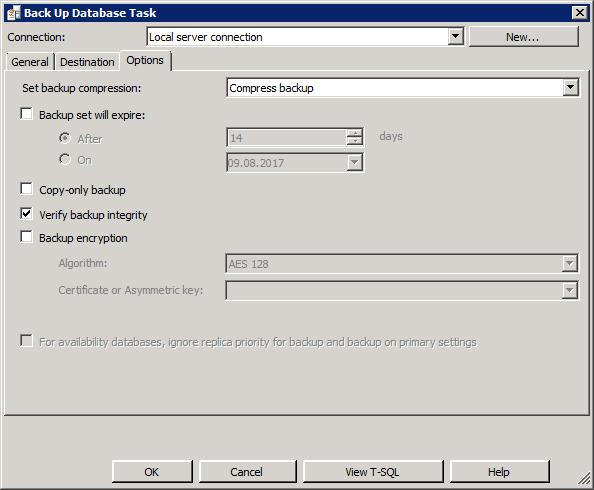 """Вкладка """"Параметры резервного копирования"""" задачи резервного копирования базы данных"""