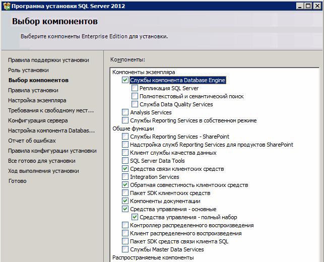 Выбор компонент SQL Server
