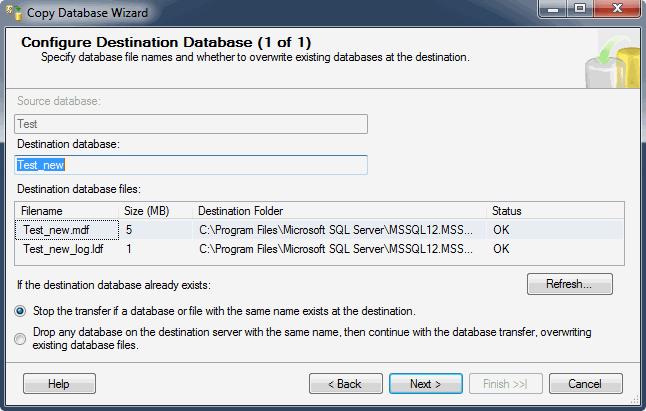 Помощник настройки копирования базы данных. Настройка базы приемника