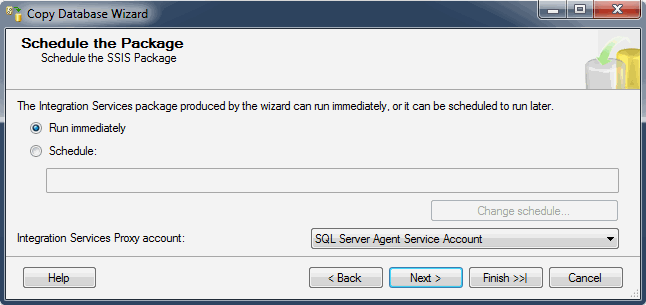Помощник настройки копирования базы данных. Установка расписания пакета заданий