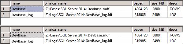 Информация о размере файлов базы данных